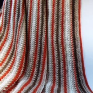 Fall Striped Afghan by CrochetN'Crafts