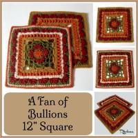 """A Fan of Bullions 12"""" Afghan Square by CrochetN'Crafts"""