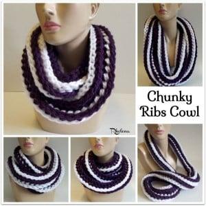 Chunky Ribs Cowl by CrochetN'Crafts