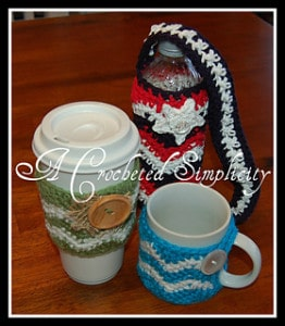 """Chasing Chevrons"" Cozies: Coffee Mug, Coffee Sleeve & Water Bottle by Jennifer Pionk's Ravelry Store"