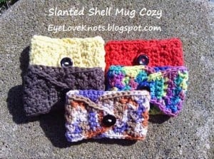 Crochet Slanted Shell Coffee Mug Cozy by EyeLoveKnots