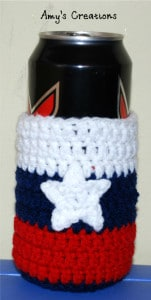 Crochet Red, White and Blue Can Cozy by Crochet Jewel