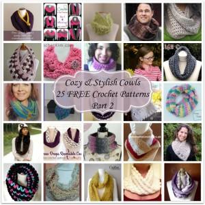 Cozy & Stylish Cowls ~ 25 FREE Crochet Patterns - Part 2.