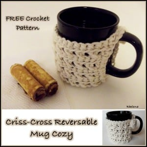 Criss-Cross Reversible Mug Cozy by CrochetN'Crafts