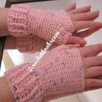 Ridged Cuff Fingerless Gloves by 2 Crochet Hooks for Oombawka Design