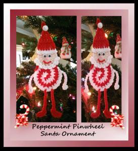 Peppermint Pinwheel Santa Ornament by Crochet Memories