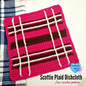 Scottie Plaid Dishcloth by Crochet For You