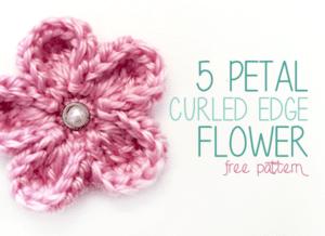 5 Petal Curled Edge Flower by Little Monkeys Crochet
