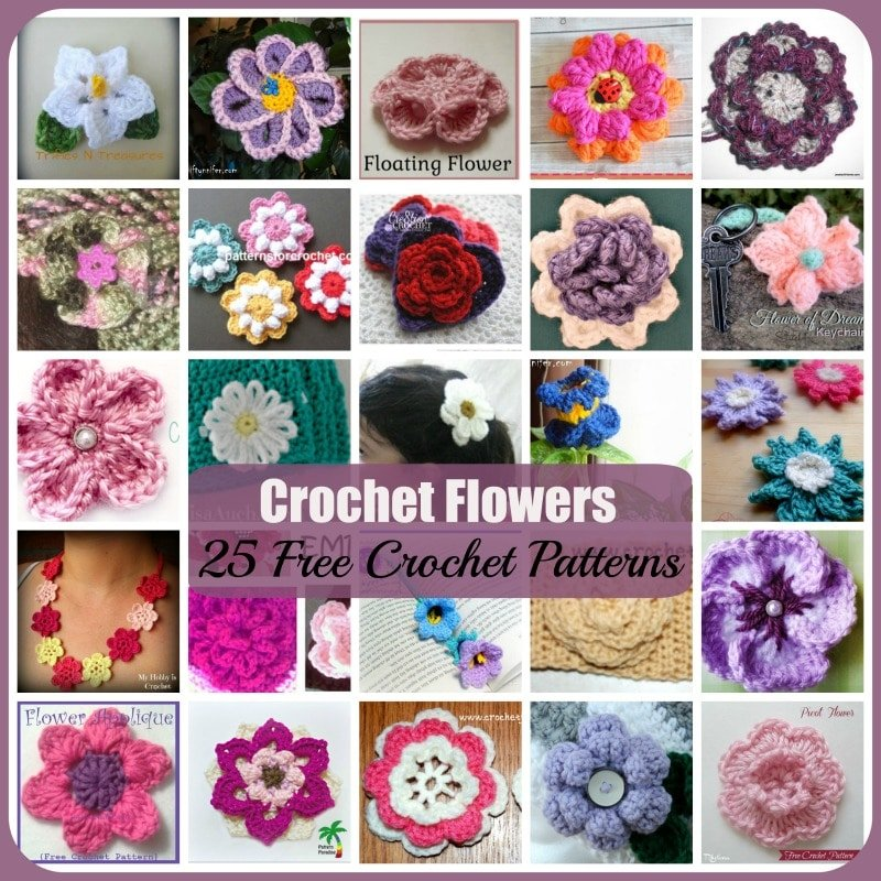 Crochet Stitches That Look Like Flowers : Crochet Flowers ~ 25 FREE Crochet Patterns - Rhelenas Crochet Blog