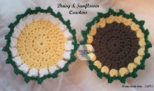 Daisy and Sunflower Coasters by Home Made Hats by Cheryl
