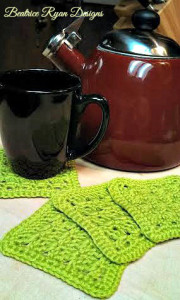 Amazing Grace Summer Crochet Coaster Set by Beatrice Ryan Designs