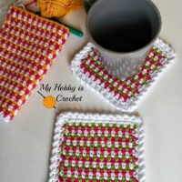 Woven Stitch Coasters by My Hobby is Crochet