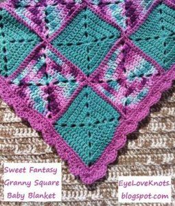 Sweet Fantasy Granny Square Baby Blanket by EyeLoveKnots