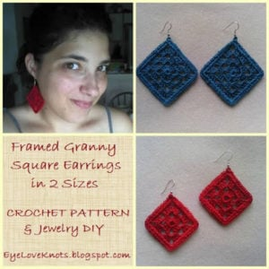 Framed Granny Square Earrings in Two Sizes by EyeLoveKnots