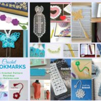 A collage of crochet bookmarks