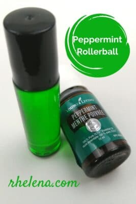 Roller bottle with peppermint essential oil.